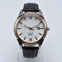 2 estilo de moda por atacado na venda de couro de quartzo mens relógios analógicos auto data homens vestido de designer relógio presentes homens relógio de pulso montre homme