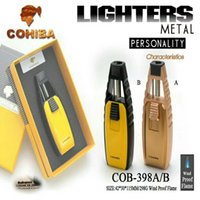 제조사 직접 판매 COHIBA 유도 직접 충격 라이터 금속 크리 에이 티브 토치 시가 액세서리 라이터 선물 상자