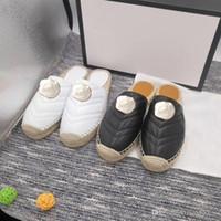 2019 Nouveaux produits Chaussures de pêcheur authentiques pantoufles en peau de mouton avec boucle Baotou Designer Luxury luxe en paille plate femme chaussures us10