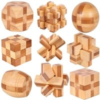 9pcs lot 3D Eco- friendly bamboo wooden toys IQ brain teaser ...