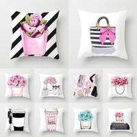 24 Diseñador Funda de almohada pequeña serie de botellas de perfume Funda de almohada de impresión Home Hotel Asiento de coche Cojín de cojines XD22868