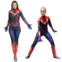 Adult Child Captain Marvel Costume Women Superhero 3D Print ...