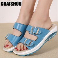 shoes woman Slippers 2019 summer plus size 35- 42 Genuine Lea...