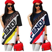Frauen F Brief T-Shirt Kleid Sport Rock Sommer Kurzarm Gestreiften T-shirts T Kleider Lose Mode Sport Tennis Rock Boutique C436