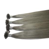 """Высочайшее качество U-наконечник Бразильский наращивание волос Remy для волос кончик ногтя девственные волосы 16 """"-22"""" Цвет Ombre T1B / серый 200s 200Gr Lot"""
