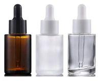 30ml al por mayor plana hombro clara helada de vidrio ámbar Ronda botella de aceite esencial de vidrio con gotero de suero con los cosméticos esencia