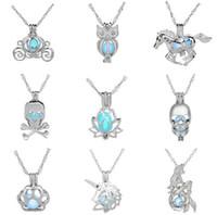 Luxus im dunkeln leuchten stein halskette Öffnen 3 farben leuchtperlenkäfig anhänger halsketten Für frauen Perle Medaillons Halskette