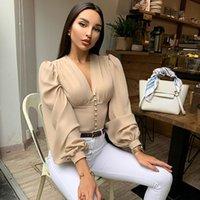 2020 Neue Ankunft Sexy Blusen Sommer Mode V-Ausschnitt Langarm Knöpfe Puff Slevee Damenhemden Heißer Verkauf