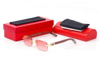 Mode Sonnenbrillen für Frauen 2020 Büffelhornbrille randlos Gold-Silber-Rahmen Holz Beine Bambusholz Sonnenbrille lunettes de soleil
