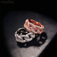 Vecalon Statement Female Promise Ring 925 sterling silver Mi...