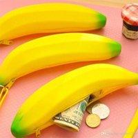 Neuheit Gelb Banane Silikon-Bleistift-Kasten Aufbewahrung Bleistift-Beutel-Dual-Geldbörse Key-Mappen-fördernden Geschenk-Briefpapier