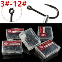 1000pcs 10box 3#- 12# Black Ise Hooks High Carbon Steel With ...