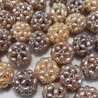 Boule de perles de riz d'eau douce nature faite à la main blanche / violette / rose / noire pour pendentif / boucles d'oreilles bijoux bricolage sans chaîne