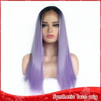 Fashion 18inch Purple Color Long Straight Hair Cosplay Wigs ...