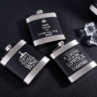 Lazer İngilizce Mektup Hip Flask 6oz Siyah Paslanmaz Çelik Hip Flask Metal Likör Şişesi Kare Whisky Flagon Alkol Şişeleri Hediye DBC VT0820