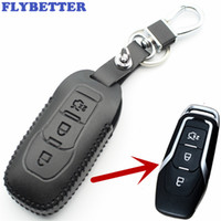 FLYBETTER جلد أصلي 3But Smart Key Case Cover for Ford New Mondeo (2.0T) / Edge / Mustang Car Styling L2207