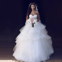 White Ball Gown Wedding Dreses 2020 Sweet Heart Lace- up Back...
