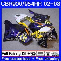 Bodys Pour HONDA CBR900RR CBR 954 RR CBR954RR 02 03 CBR900 RR 280HM.56 CBR 900RR CBR954 RR CBR 954RR 2002 2003 Kit de carénage CAMEL Violet Chaud