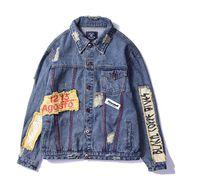Benzersiz Bağbozumu Ripped Erkekler Patchwork Denim Pamuk Jean Ceket Tasarımcı Mont Hip Hop Rahat Kot Ceketler Tasarımcı Erkek Moda Streetwear