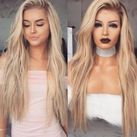 Gradient champagne wig Long Blond Wavy Synthetic Ombre Blond...