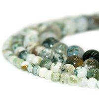 Perle di agata dell'albero di pietra naturale perline rotonde perline allentate della pietra preziosa per il braccialetto fai da te Gioielli che fanno 1 filo 15 pollici 4 6 8 10 mm