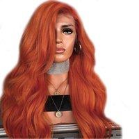 Sintética Naranja Parte lateral del frente del cordón sin cola resistente al calor de cobre ondulado largo rojo pelucas para mujeres Negro