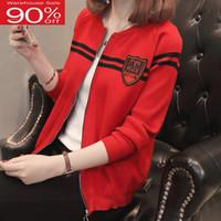 Frauen Pullover 2020 neue Ankunfts-Herbst-und Winter-Kurz Zipper Weibliche Strickjacke Mantel Schwarz Rot Khaki koreanischen Stil A67