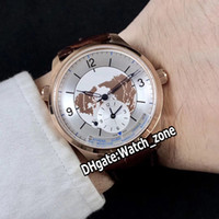 New Master Control Geofísica Geographic 1428530 Q1428530 Branco Dial Automatic Mens Watch Case Gold Rose Correia de couro Relógios Watch_Zone