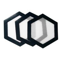 Qualité FDA de qualité alimentaire concentré antiadhésif réutilisable bho cire huile lisse forme hexagone forme résistant à la chaleur en fibre de verre silicone dab pad tapis