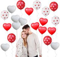 Любовь Сердце Латексные Шары Сердце Печатных Шар Красный Белый Свадьба Гелий Шар День Святого Валентина День Рождения Надувные Шары