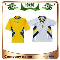 1994 Dünya Kupası İsveç Retro sürüm Futbol Formaları Ev # 10 DAHLIN # 11 BROLIN # 7 LARSSON Futbol Gömlek Özelleştirilmiş Futbol Üniforma