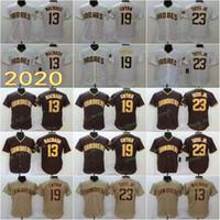2020 남자 뜨거운 13 machado jersey 19 gwynn 23 tatis jr 야구 유니폼 화이트 브라운 FlexBase coolbase 남자 홈 도로 스티치