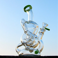 Hot Double Recycler Dab Rig Wax Glass Unique Bong Slitted Do...