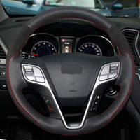 DIY de couro preto costurado à mão Car Steering Wheel Cover para Hyundai Santa Fe IX45