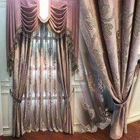 High-End-Velvet Gilded Vorhänge Tüll für Wohn-Esszimmer Schlafzimmer Blackout Vorhänge Hauptdekoration Fenster Vorhang