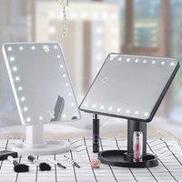 Hot 360 gradi trucco dello specchio regolabile rotazione dello schermo 16/22 LED illuminati a LED portatile luminoso Cosmetic Specchi SJ66