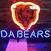 DA BEARS Neon Sign Bar Holiday Display Pubblicità Decorazione Personalizzato Montato su vetro Real Light Metal Frame 20 '' 24 '' 30 ''