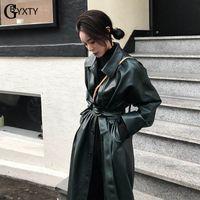 GBYXTY long trench-coat pour femmes Printemps PU cuir simple Trench Ceinture Femme Windreaker Pardessus abrigos de ZA1439