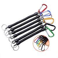 Portaniers de pêche portables ressort escamotables corde élastique anti-pertes porte-clés de camping mousqueton sécurisé serrure serrure chaîne de porte-clés de corde couleur aléatoire