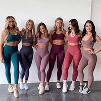 2020 Seamless Gym Set Nylon Frau Sportswear 2 Stück Übung Leggings Padded Sports Bras Frauen Fitness Wear Yoga Sets Sportanzüge L