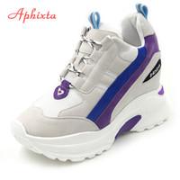 Aphixta Höhe Zunehmende Stiefeletten Plattform Schuhe Frau Lace-up Kuh Wildleder Stiefel Frauen Stiefel High Heel Lady Light Schuhe