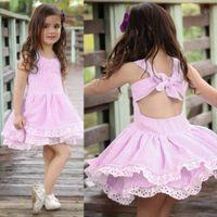 diseñador del verano del bebé muchachas del vestido de rayas sin respaldo Bowknot del vestido de la princesa de los niños Moda de encaje de flores de algodón Frocks ropa 2 colores