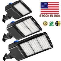 재고 있음 미국 + 600W 300W 200W 150W LED Shoebox 주차장 조명 IP65 방수 야외 거리 극 빛 DLC 나열 된 광전지 센서