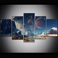 5 Piece Large Size Canvas Wall Art Space Planet Print Oil Pa...