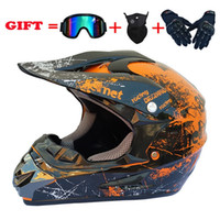 Casco de la motocicleta 4pcs Máscara Set Off Road Motocross Casco casco de la motocicleta campo a través de ATV Cross Racing Bike Casque con los anteojos