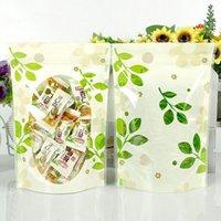 Verde de la hoja 500pcs / Lot de plástico transparente de ponerse de pie superior de la cremallera paquete de la bolsa de flores secas de almacenamiento Doypack resellable Bolsa bolsas de embalaje