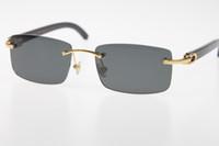 2019 frete grátis óculos sem aro preto novo chifre de búfalo SunGlasses Hot Genuine Natural designer de 8.200.757 SunGlasses Hot Unisex óculos Nova