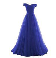 أنيقة الملكي الأزرق الطابق طول وصيفة الشرف تول الإمبراطورية الخصر خادمة الشرف خارج الكتف الشرف أثواب الزفاف