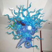 Livraison gratuite Hot Sale bleu Lustre en verre de Murano Lustre Lumière 110V 220V Ampoules LED vintage Lustres forme unique