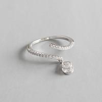 Otantik 925 Gümüş Mikro Encrusted Zirkon Püskül Yüzük Yeni Düğün Band CZ Açık Boyutu Ayarlanabilir Yüzük Moda Bildirimi Yüzük